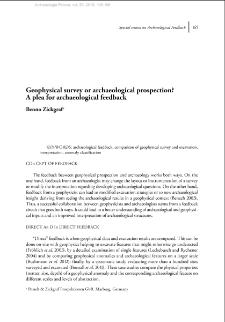 Geophysical survey or archaeological prospection? A plea for archaeological feedback