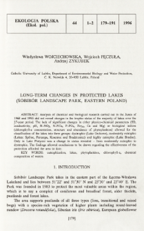 Long-term changes in protected lakes (Sobibór Landscape Park, Eastern Poland)