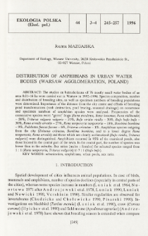 Distribution of amphibians in urban water bodies (Warsaw agglomeration, Poland)