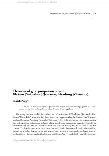 The archaeological prospection project Rheinau (Switzerland)/Jestetten, Altenburg (Germany)