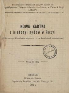 Nowa kartka z historyi Żydów w Rosyi : (kilka uwag o homelskim pogromie i t. zw. komitetach samoobrony)
