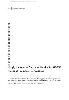 Geophysical survey at Žitný ostrov, Slovakia, in 2012–2013
