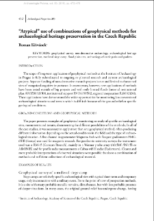 """Atypical"" use of combinations of geophysical methods for archaeological heritage preservation in the Czech Republic"