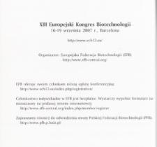 XIII Europejski Kongres Biotechnologii