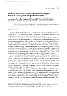 Neolithic settlements in the Tavoliere Plain (Apulia, Southern Italy): predictive probability maps