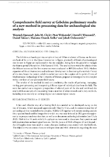 Comprehensive field survey at Gebelein: preliminary results of a new method in processing data for archaeological site analysis