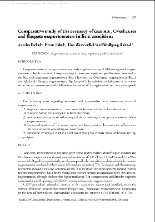 Comparative study of the accuracy of caesium, Overhauser and fluxgate magnetometers in field conditions
