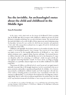 See the invisible. An archaeologist's notes about the child and childhood in the Middle Ages