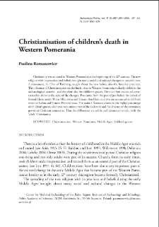 Christianisation of children's death in Western Pomerania