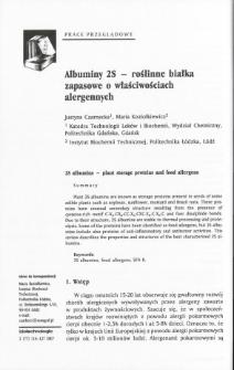 Albuminy 2S - roślinne białka zapasowe o właściwościach alergennych