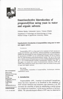 Enantioselective bioreduction of propentofylline using yeast in water and organic solvents
