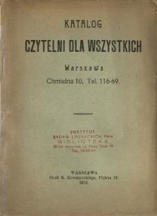 Katalog Czytelni dla Wszystkich, Warszawa, Chmielna 10, tel. 116-69