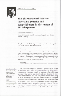 The pharmaceutical industry, innovation, generics and competitiveness in the context of EU Enlargement