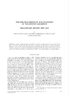 Polish-Macedonian Excavations at Negotino Gradište. Preliminary Report 2009–2015