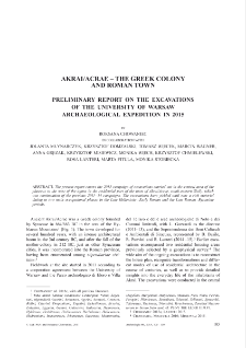 Acrai/Acrae – The Greek Colony and Roman Town. Preliminary Report on the Excavations of the University of Warsaw Archaeological Expedition in 2015