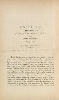 Zawilec Anemone L. : studyjum morfologiczne (z tablicą I, II i III)
