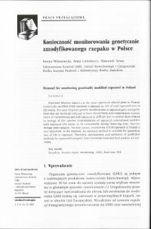 Konieczność monitorowania genetycznie zmodyfikowanego rzepaku w Polsce
