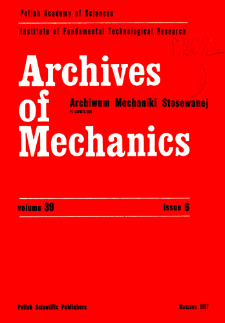 Archives of Mechanics Vol. 39 nr 6 (1987)