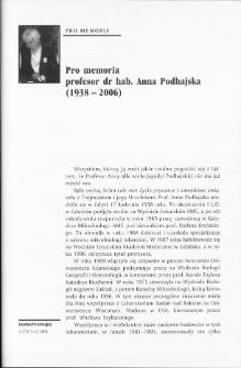 Pro memoria profesor dr hab. Anna Podhajska (1938-2006)