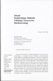 Zarząd Krakowskiego Oddziału Polskiego Towarzystwa Biochemicznego