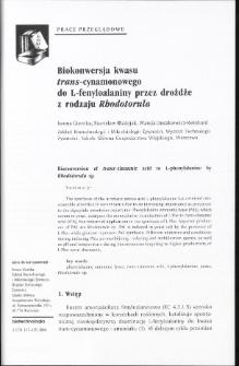 Biokonwersja kwasu frans-cynamonowego do L-fenyloalaniny przez drożdże z rodzaju Rhodotorula