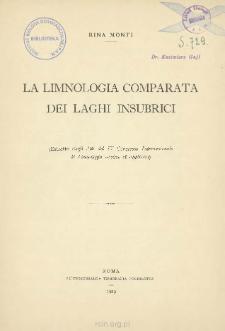 La limnologia comparata dei laghi insubrici