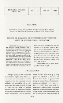 Effect of draining on nitrogen flow through mires in agricultural landscape
