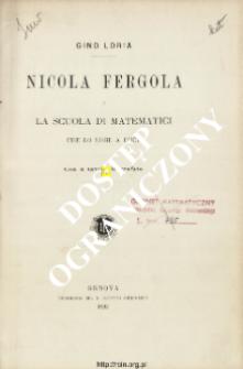 Nicola Fergola e la scuola di matematici che lo ebbe a duce