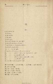 III. Arithmétique.