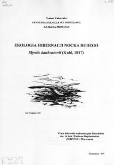 Ekologia hibernacji nocka rudego Myotis Daubentonii (Kuhl, 1817)