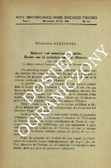 Badania nad notarium u ptaków : (Z Zakładu Anatomji Porównawczej Uniwersytetu Warszawskiego)
