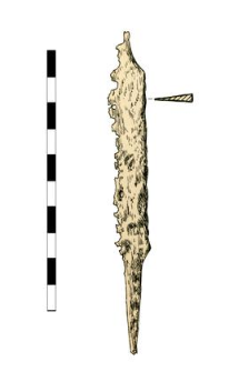Knife with a tang, damaged