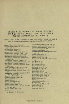 Skorowidz nazw systematycznych do I-go tomu Acta Ornithologica Musei Zoologici Polonici