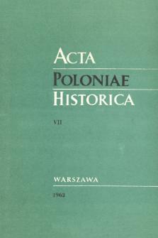 Acta Poloniae Historica T. 7 (1962), Strony tytułowe, spis treści
