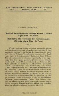 Materjały do występowania czarnego bociana (Ciconia nigra Linn.) w Polsce