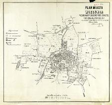 Plan miasta Wielunia według mappy z 1823 roku przez Jeometrę F. Bergemanna sporządzony