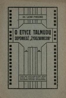 """O etyce Talmudu : odpowiedź """"żydoznawcom"""""""