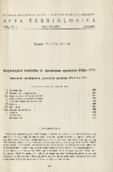 Morphological variability in Apodemus agrarius (Pallas 1771); Zmienność morfologiczna Apodemus agrarius (Pallas 1771)