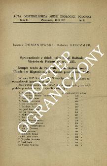 Sprawozdanie z działalności Stacji Badania Wędrówek Ptaków za rok 1935