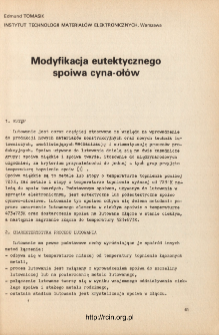 Modyfikacja eutektycznego spoiwa cyna-ołów