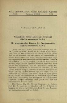 Geograficzne formy pokrzewki cierniówki (Sylvia communis Lath.)