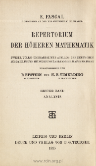 Repertorium der Höheren Mathematik. 1. Hälfte., 1. Bd., Analysis. Algebra, Differetial- und Integralrechnung. The front page and extras