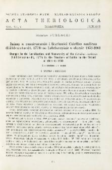 Zmiany w rozmieszczeniu i liczebności Citellus suslicus (Güldenstaedt, 1770) na Lubelszczyźnie w okresie 1954-1961; Changes in the localisation and numerosity of the Citellus suslicus (Güldenstaedt, 1770) in the province of Lublin in the period of 1954 to 1961