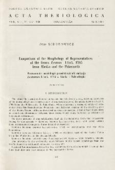Comparison of the morphology of representatives of the genus Lemmus Link, 1795 from Alaska and the Palaearctic; Porównanie morfologii przedstawicieli rodzaju Lemmus Link, 1795 z Alaski i Palearktyki