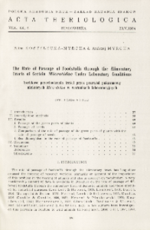 The rate of passage of foodstuffs through the alimentary tracts of certain Microtidae under laboratory conditions; Szybkość przechodzenia treści przez przewód pokarmowy niektórych Microtidae w warunkach laboratoryjnych