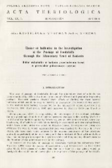 Choice of indicator in the investigation of the passage of foodstuffs through the alimentary tract of rodents; Dobór wskaźnika w badaniu przechodzenia treści w przewodzie pokarmowym gryzoni