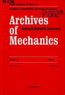 Archives of Mechanics Vol. 50 nr 6 (1998)