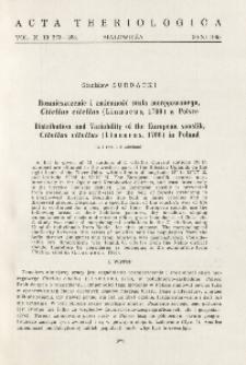Rozmieszczenie i zmienność susła moręgowanego, Citellus citellus (Linnaeus, 1766) w Polsce; Distribution and variability of the European souslik, Citellus citellus (Linnaeus, 1766) in Poland