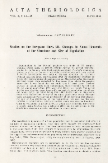 Studies on the European hare. VII. Changes in some elements of the structure and size of population