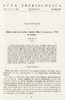 Statut actuel du castor, Castor fiber Linnaeus, 1758 en Frnace